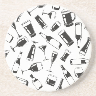 Black Pattern Drinks and Glasses Drink Coaster
