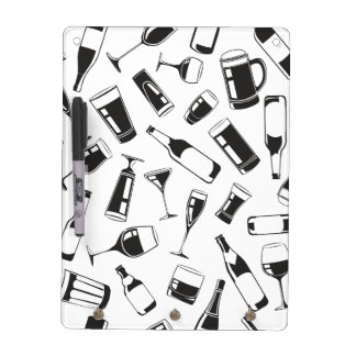 Black Pattern Drinks and Glasses Dry Erase Board