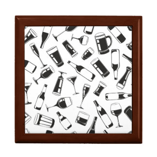 Black Pattern Drinks and Glasses Gift Boxes