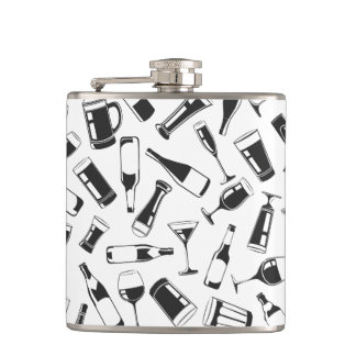 Black Pattern Drinks and Glasses Hip Flask
