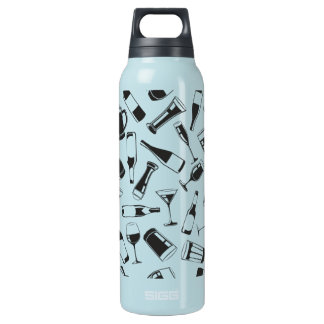 Black Pattern Drinks and Glasses Insulated Water Bottle