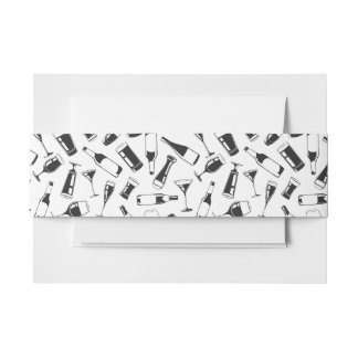 Black Pattern Drinks and Glasses Invitation Belly Band