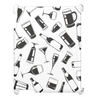 Black Pattern Drinks and Glasses iPad Case