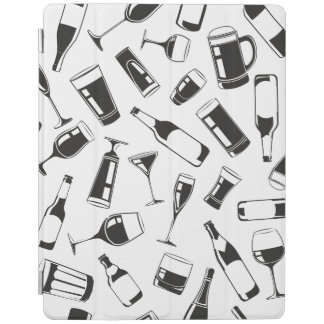 Black Pattern Drinks and Glasses iPad Cover