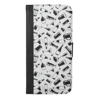 Black Pattern Drinks and Glasses iPhone 6/6s Plus Wallet Case