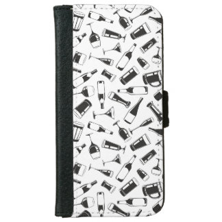 Black Pattern Drinks and Glasses iPhone 6 Wallet Case