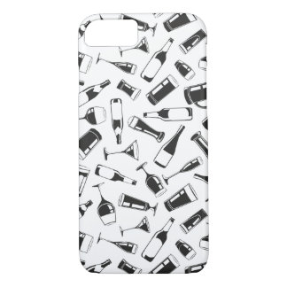 Black Pattern Drinks and Glasses iPhone 8/7 Case
