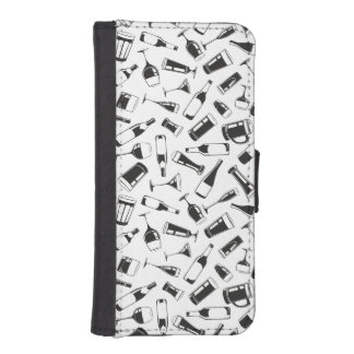 Black Pattern Drinks and Glasses iPhone SE/5/5s Wallet Case