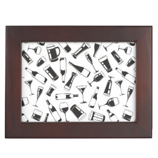 Black Pattern Drinks and Glasses Keepsake Box