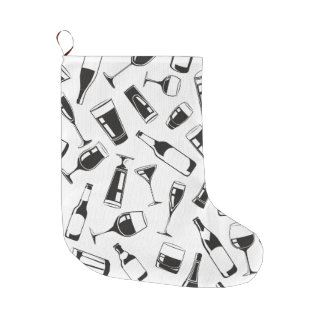 Black Pattern Drinks and Glasses Large Christmas Stocking