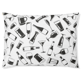 Black Pattern Drinks and Glasses Large Dog Bed
