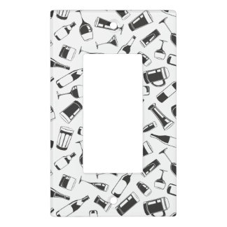 Black Pattern Drinks and Glasses Light Switch Cover
