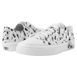 Black Pattern Drinks and Glasses Low-Top Sneakers