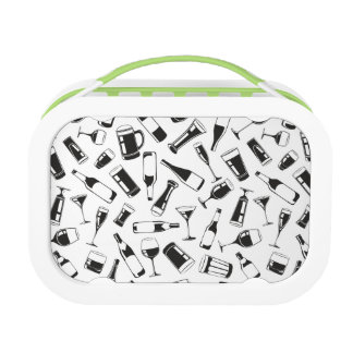 Black Pattern Drinks and Glasses Lunch Boxes