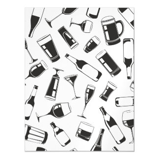 Black Pattern Drinks and Glasses Magnetic Card