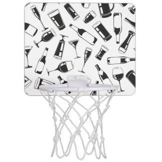 Black Pattern Drinks and Glasses Mini Basketball Hoop