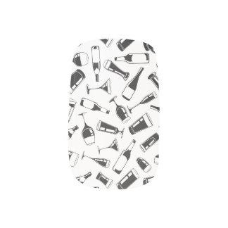 Black Pattern Drinks and Glasses Minx Nail Art