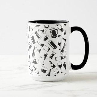 Black Pattern Drinks and Glasses Mug