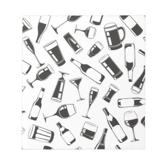 Black Pattern Drinks and Glasses Notepads