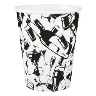 Black Pattern Drinks and Glasses Paper Cup