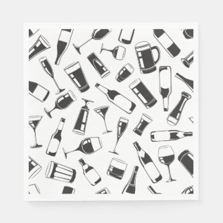 Black Pattern Drinks and Glasses Paper Napkin