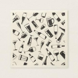 Black Pattern Drinks and Glasses Paper Napkins