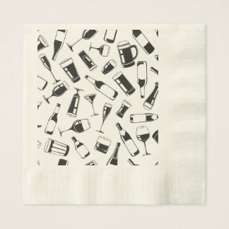 Black Pattern Drinks and Glasses Paper Napkins