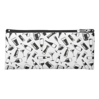 Black Pattern Drinks and Glasses Pencil Case