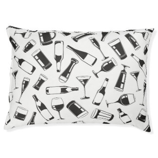 Black Pattern Drinks and Glasses Pet Bed