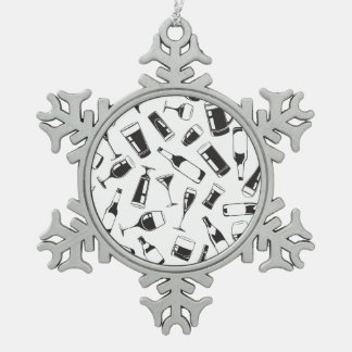 Black Pattern Drinks and Glasses Pewter Snowflake Ornament