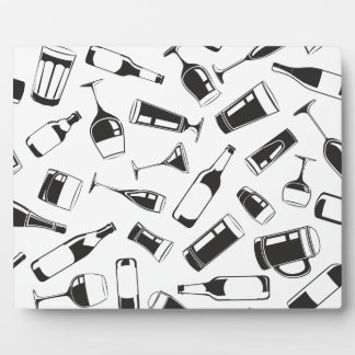 Black Pattern Drinks and Glasses Photo Plaques
