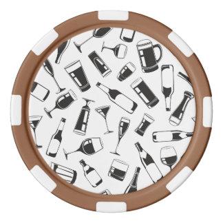 Black Pattern Drinks and Glasses Poker Chip Set