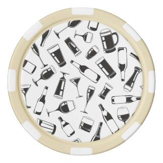 Black Pattern Drinks and Glasses Poker Chips