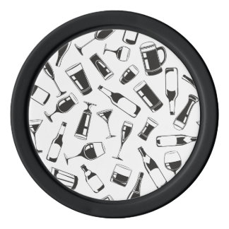 Black Pattern Drinks and Glasses Poker Chips