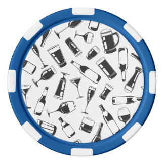 Black Pattern Drinks and Glasses Poker Chips Set