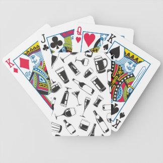 Black Pattern Drinks and Glasses Poker Deck
