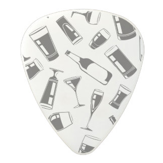Black Pattern Drinks and Glasses Polycarbonate Guitar Pick