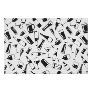 Black Pattern Drinks and Glasses Poster