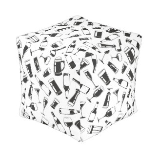Black Pattern Drinks and Glasses Pouf