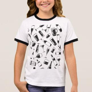 Black Pattern Drinks and Glasses Ringer T-Shirt