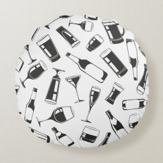 Black Pattern Drinks and Glasses Round Pillow