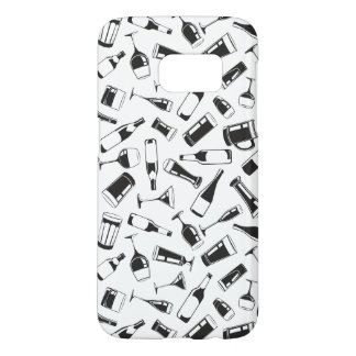 Black Pattern Drinks and Glasses Samsung Galaxy S7 Case