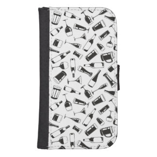 Black Pattern Drinks and Glasses Samsung S4 Wallet Case