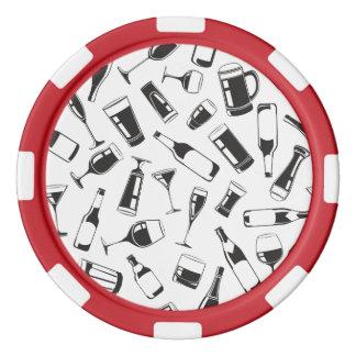 Black Pattern Drinks and Glasses Set Of Poker Chips