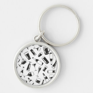 Black Pattern Drinks and Glasses Silver-Colored Round Keychain