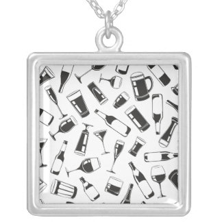 Black Pattern Drinks and Glasses Silver Plated Necklace
