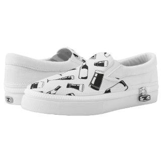 Black Pattern Drinks and Glasses Slip-On Sneakers