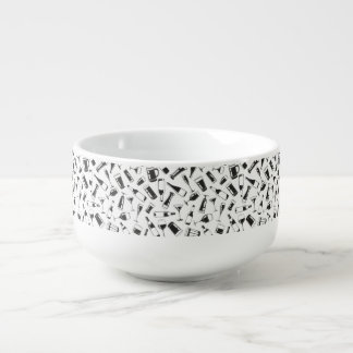 Black Pattern Drinks and Glasses Soup Bowl With Handle