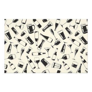 Black Pattern Drinks and Glasses Stationery Design