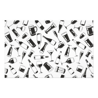 Black Pattern Drinks and Glasses Stationery Paper